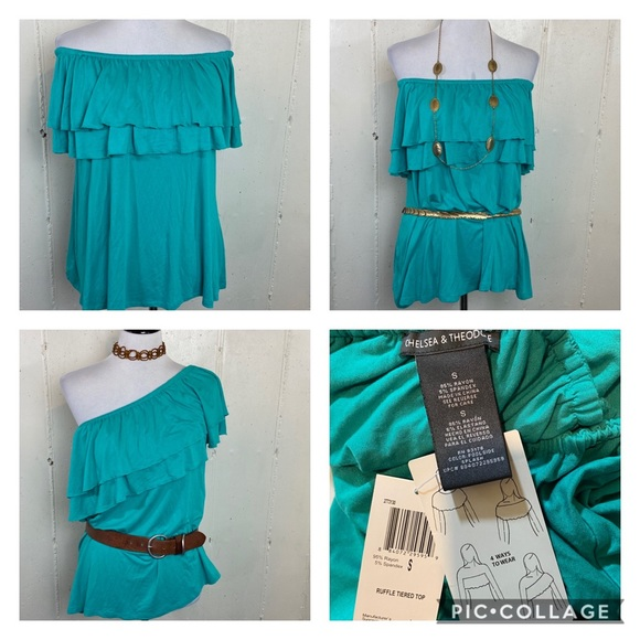 Chelsea /& Theodore Womens Ruffle Tiered Top Blouse 4-Ways To Wear